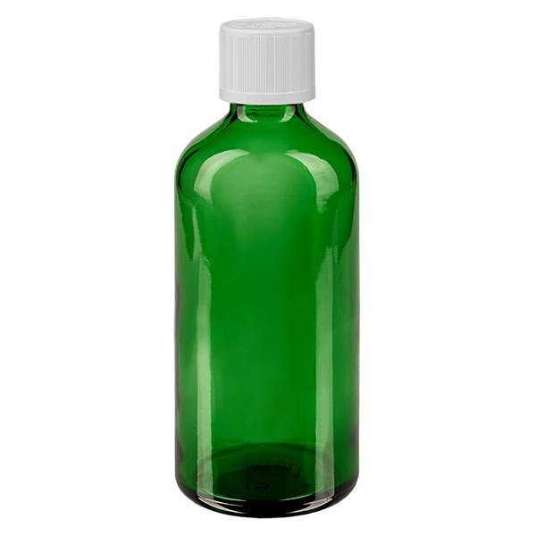 Flacon pharmaceutique vert 100 ml bouchon compte-gouttes blanc séc. enf. standard