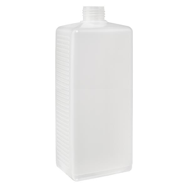 Flacon carré 1000 ml en PE clair, ND 25 sans bouchon