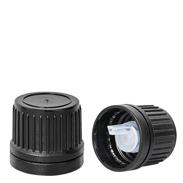 Bouchon compte-gouttes 1mm Premium noir 18mm inviol.