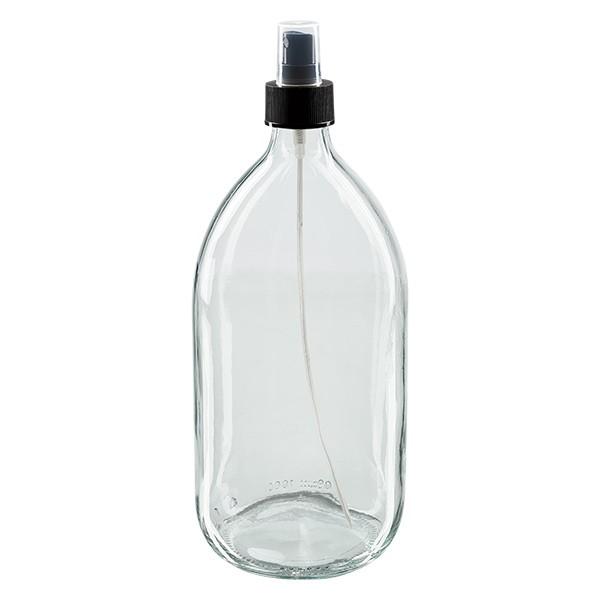 Flacon médical norme européenne de 1000 ml avec spray blanc GCMI 28/410 et couvercle transparent, standard
