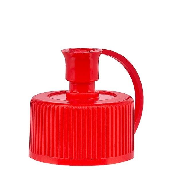 Bouchon pissette + capuchon en PE rouge, ND 25 standard