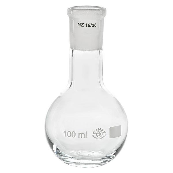 Ballon à fond plat 100 ml à col étroit, en verre borosilicate avec rodage normalisé 19/26