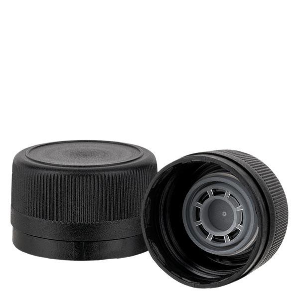 Capsule à vis PP 31,5 mm noir, bague anti-gouttes et bague d'inviolabilité