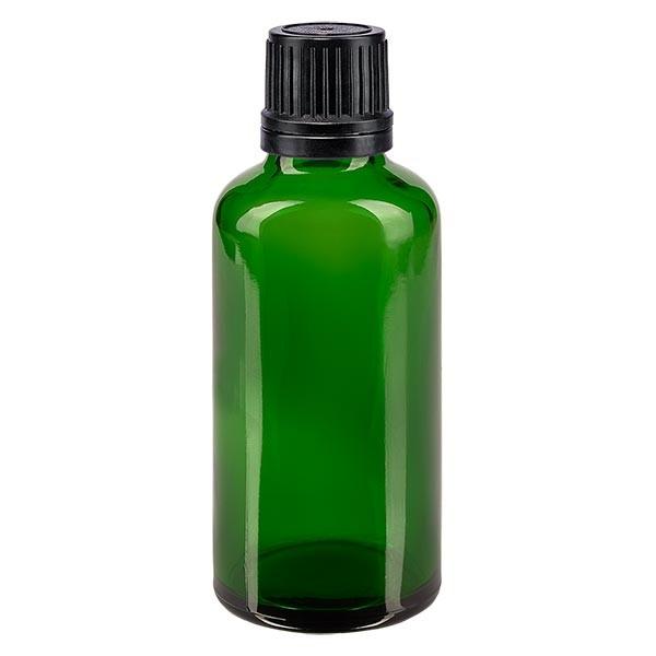 Flacon pharmaceutique vert 50 ml bouchon compte-gouttes noir bague inviolable