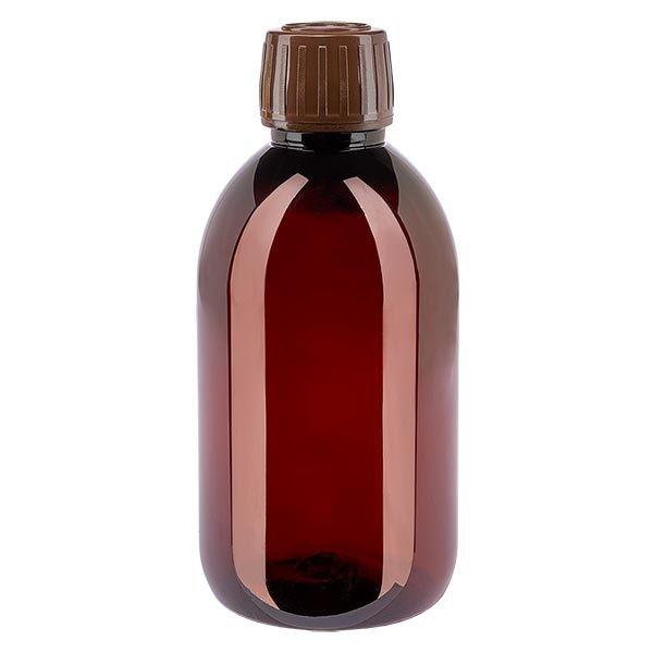 Flacon médical de 250 ml en PET, avec bouchon à vis brun PP28