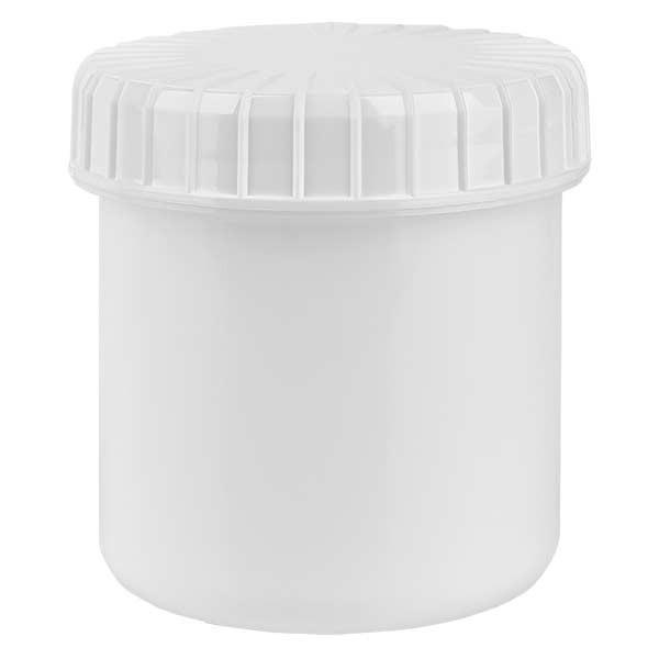 Pot en plastique blanc 75 ml + couvercle à vis blanc strié en PE, fermeture standard