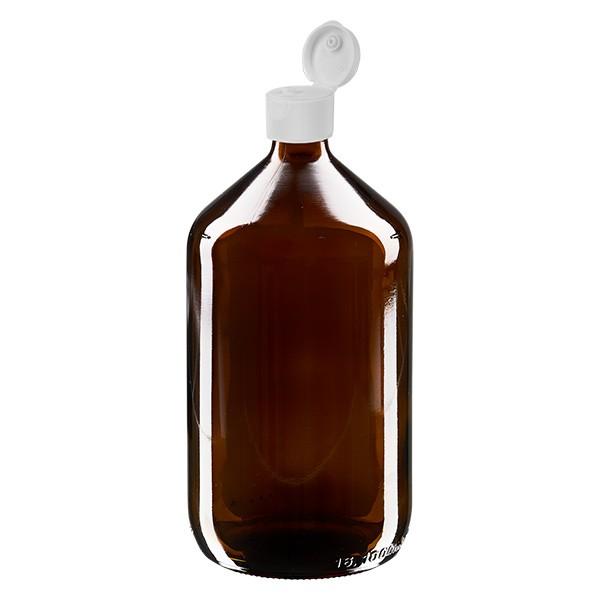 Flacon médical de 1000 ml avec couvercle blanc à charnière