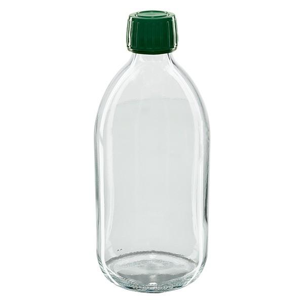 Flacon médical 500 ml couleur claire avec bouchon verte