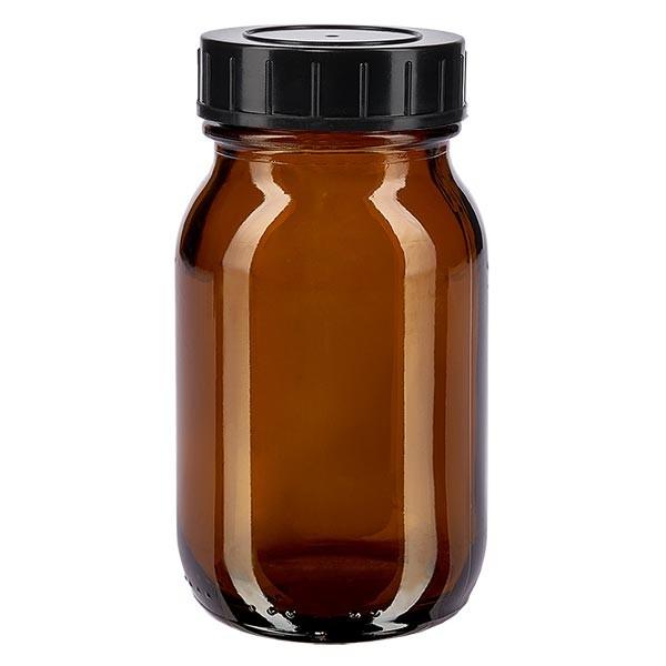Bocal à col large en verre ambré 100 ml + couvercle à vis