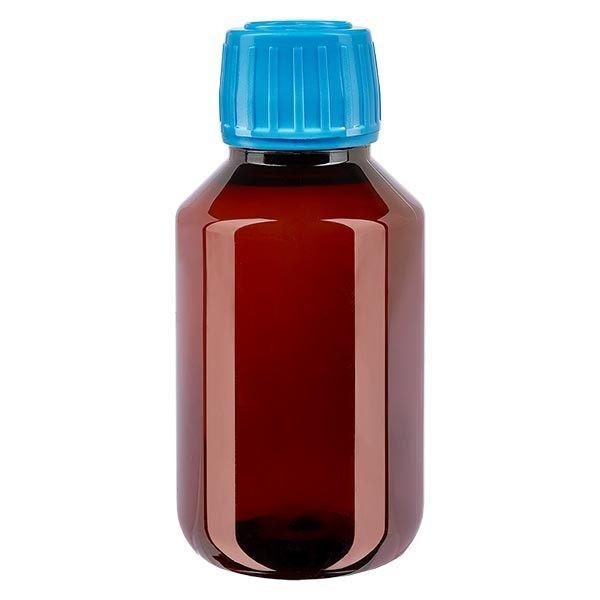 Flacon médical de 100 ml en PET, avec bouchon à vis bleu PP28