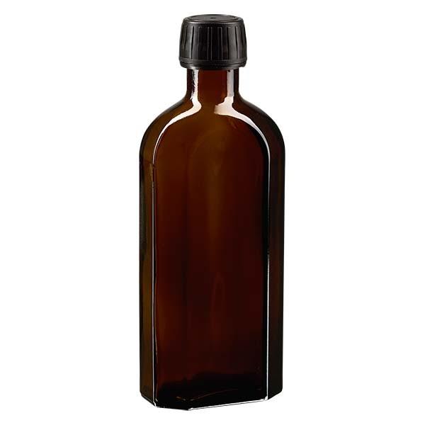 Flasque brune de 250 ml au goulot PP 28, avec bouchon à vis PP 28 noir, joint en PEE et système d'inviolabilité