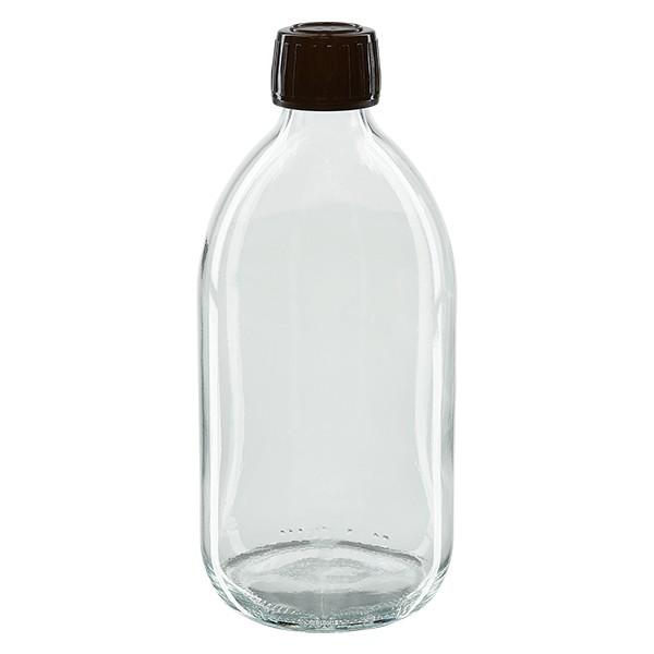 Flacon médical 500 ml couleur claire avec bouchon marron