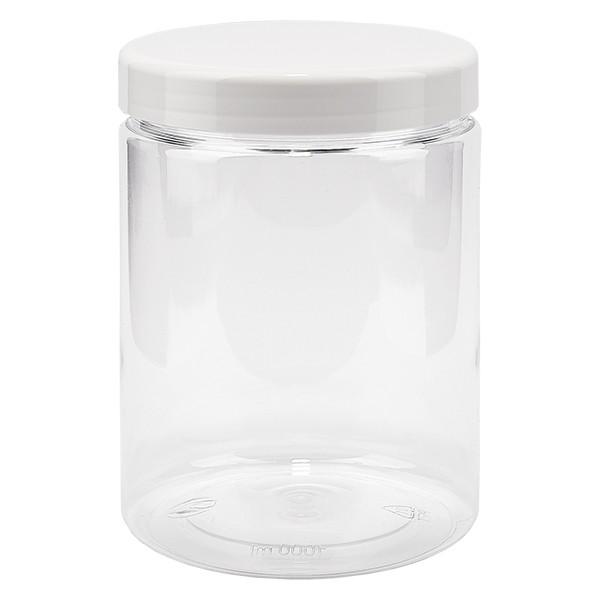 Pot à vis en PET clair 1000 ml avec couvercle blanc