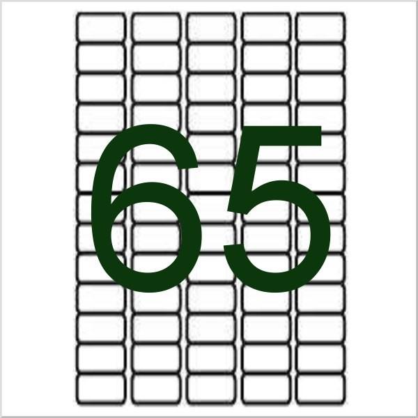 65 étiquettes blanches pour tubes de globules/essences, 38,1x21mm