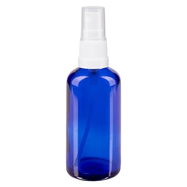 Flacon compte-gouttes bleu 50ml avec vaporisateur à pompe blanc