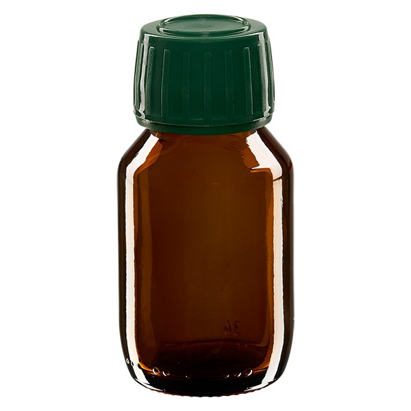 Flacon médical 50 ml couleur ambrée avec bouchon verte