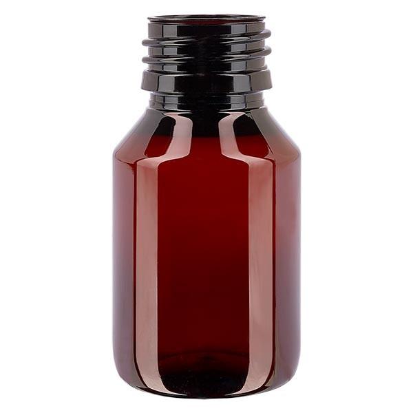 Flacon médical en PET 50 ml ambré, PP28 sans bouchon
