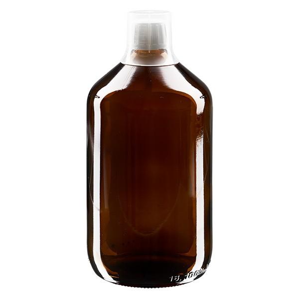 Flacon médical norme européenne de 1000 ml, avec bouchon à vis blanc et gobelet doseur de 30 ml