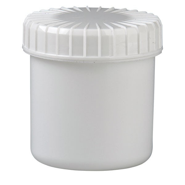 Kunststoffdose 75ml weiss mit Schraubdeckel gerillt