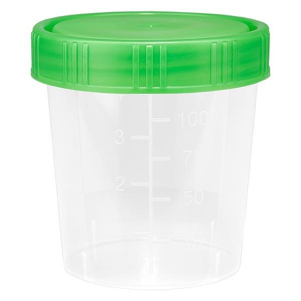 Pot à urine teinte naturelle 125 ml + couvercle à vis vert