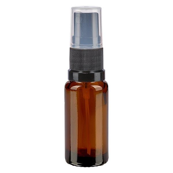 Flacon compte-gouttes ambré 10 ml avec vaporisateur à pompe noir