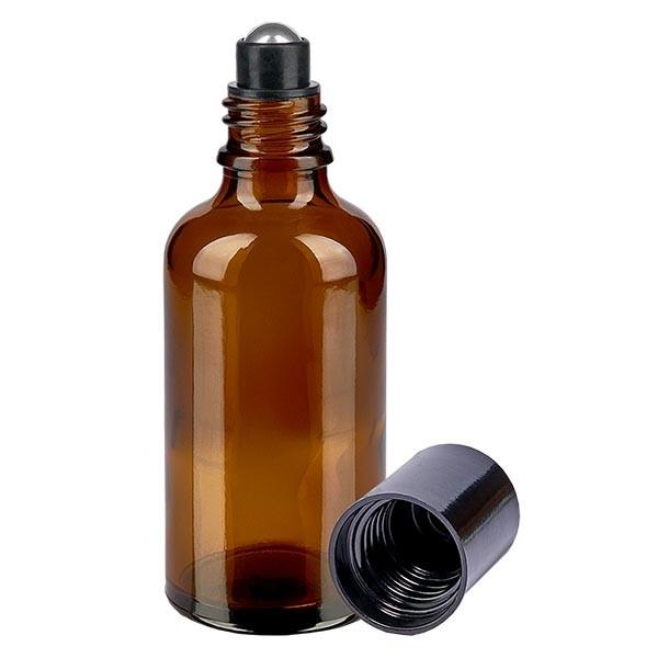 Flacon de déodorant en verre ambré 50 ml, déo à bille vide