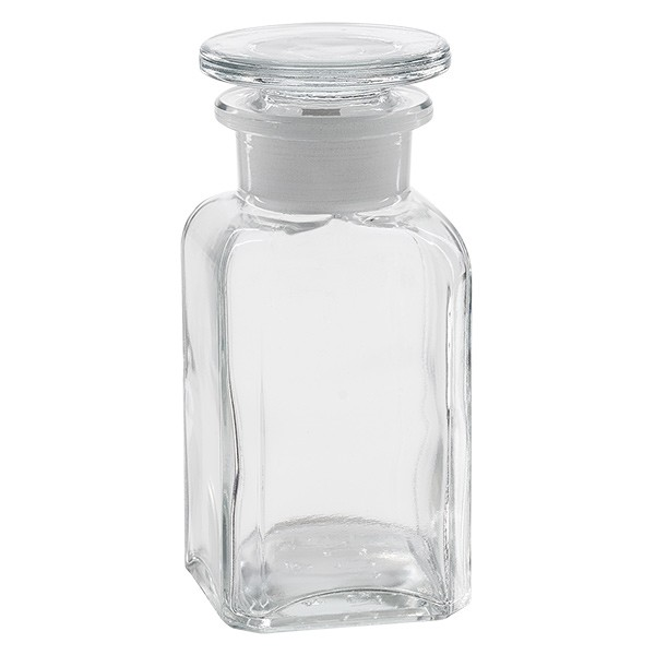 Flacon carré col large 100 ml + bouchon RIN, verre clair