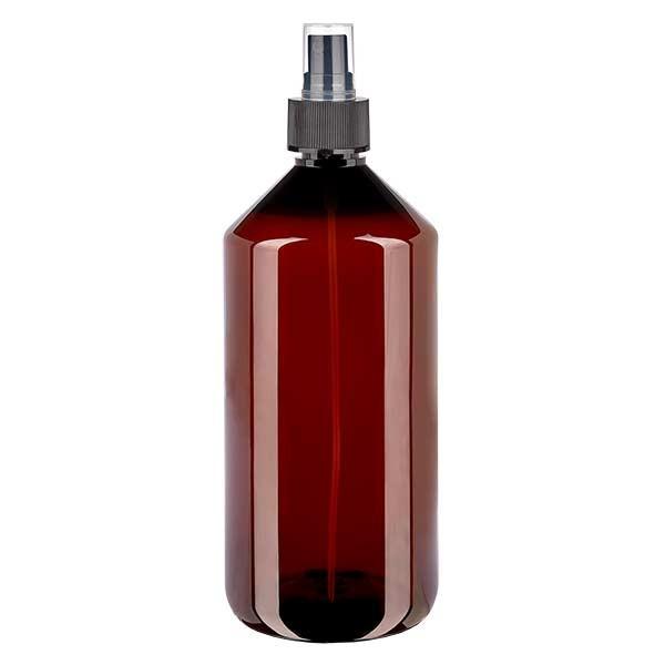 Flacon médical de 1000 ml en PET, avec spray noir GCMI 28/410 et capuchon transparent standard