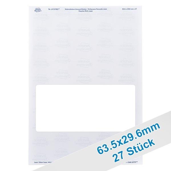 27 étiquettes amovibles blanches, 63x30 mm