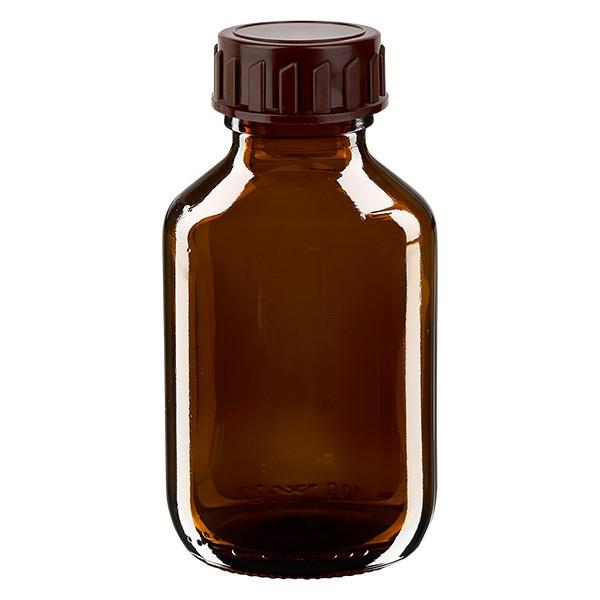 Flacon médical de 100 ml avec bouchon marron