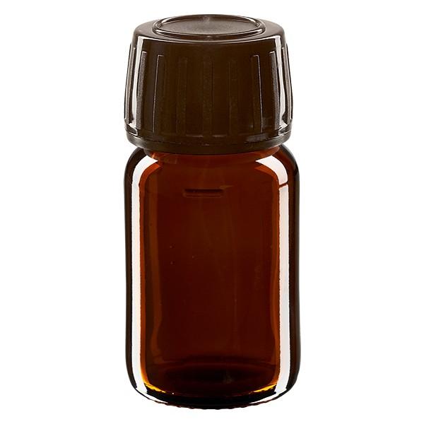 Flacon médical 30 ml couleur ambrée avec bouchon brun