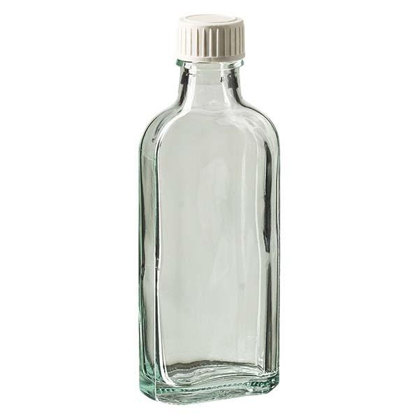 Flasque transparente de 100 ml au goulot DIN 22, avec bouchon à vis DIN 22 blanc en PP et joint mousse en PE