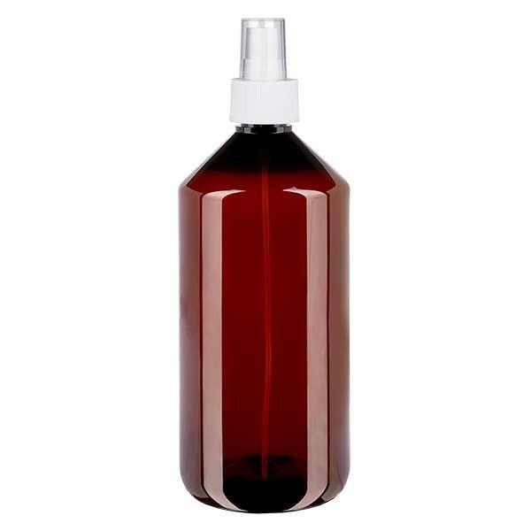Flacon médical de 1000 ml en PET, avec spray blanc GCMI 28/410 et capuchon transparent standard
