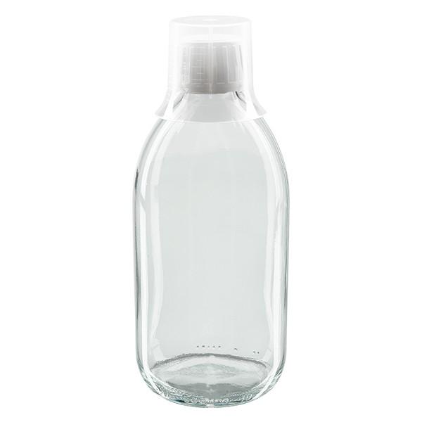 Flacon médical 500 ml couleur claire avec bouchon blanc et gobelet doseur