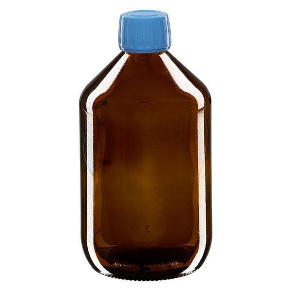 Flacon médical 500 ml couleur ambrée avec bouchon bleue