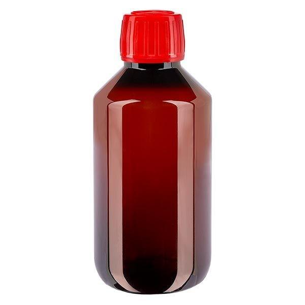 Flacon médical de 200 ml en PET, avec bouchon à vis rouge PP28