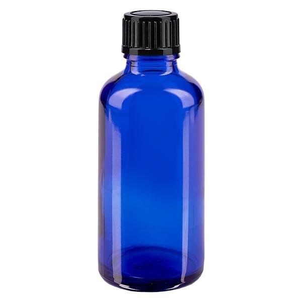 Flacon pharmaceutique bleu 50 ml bouchon compte-gouttes 1 mm noir standard