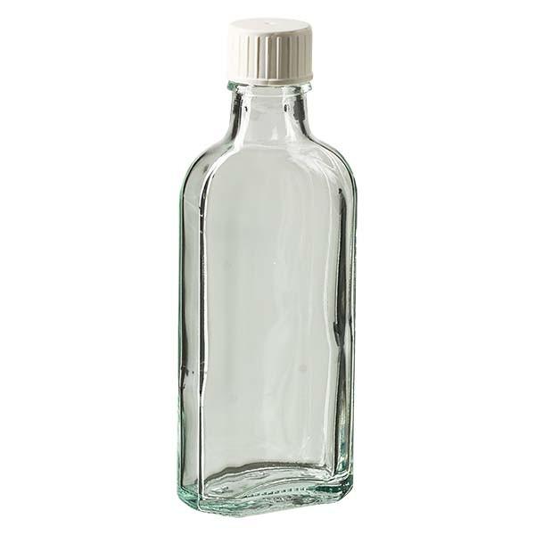 Flasque transparente de 100 ml au goulot DIN 22, avec bouchon à vis DIN 22 blanc et bague anti-gouttes
