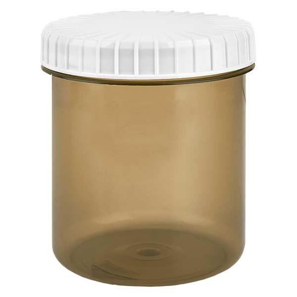Pot en plastique couleur Shadow 180 ml + couvercle à vis blanc strié en PE, fermeture standard