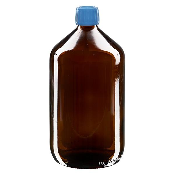 Flacon médical 1000 ml couleur ambrée avec bouchon bleue