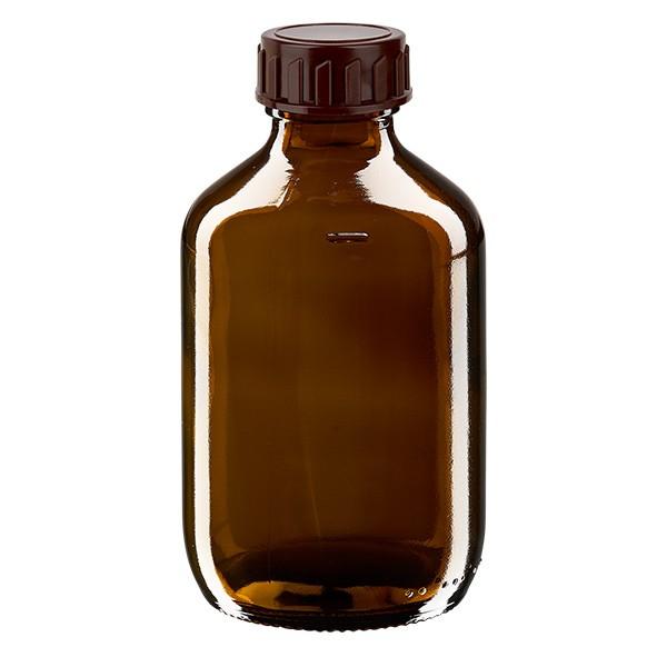 Flacon médical 200 ml couleur ambrée avec bouchon brun
