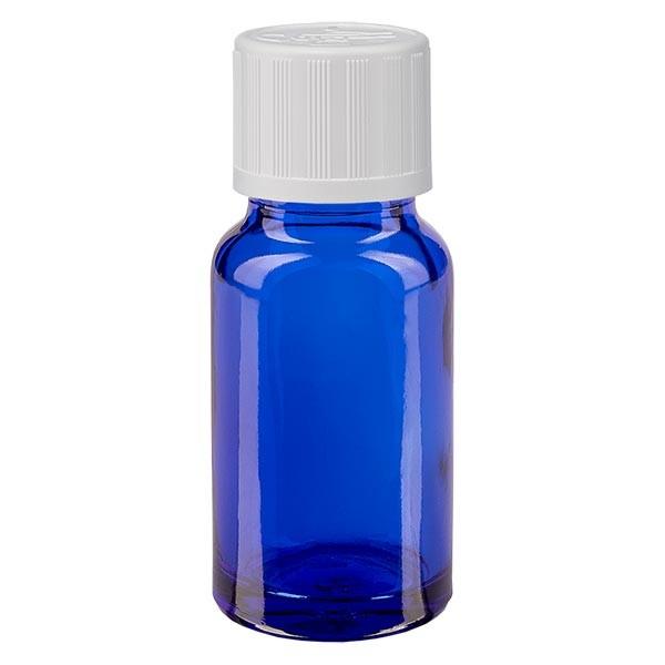 Flacon pharma. bleu 10 ml bouch. à vis blanc séc. enf. st