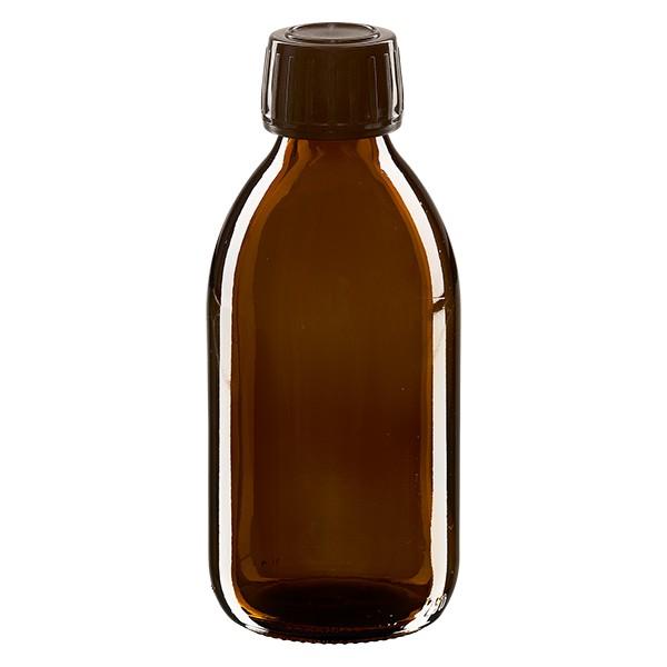 Flacon médical 250 ml couleur ambrée avec bouchon brun