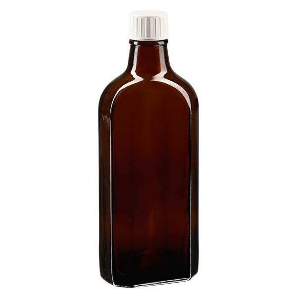 Flasque brune de 200 ml au goulot DIN 22, avec bouchon à vis DIN 22 blanc et bague anti-gouttes