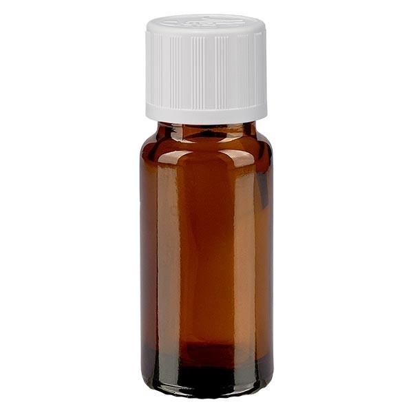 Flacon pharma. ambré 10 ml bouch. à vis blanc séc. enf. st