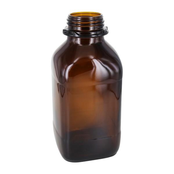Flacon carré à col large en verre ambré 1000 ml, avec goulot de norme DIN 54 (pour bouchon rayé)