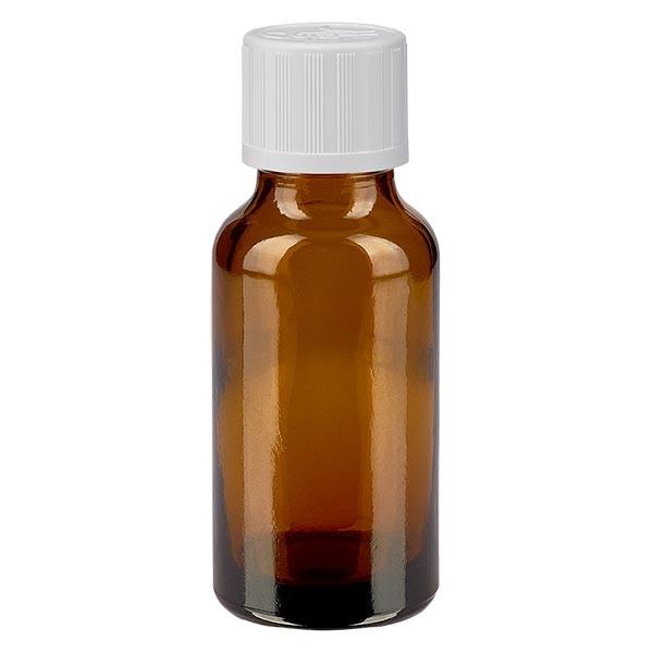 Flacon pharma. ambré 20 ml bouch. à vis blanc séc. enf. st