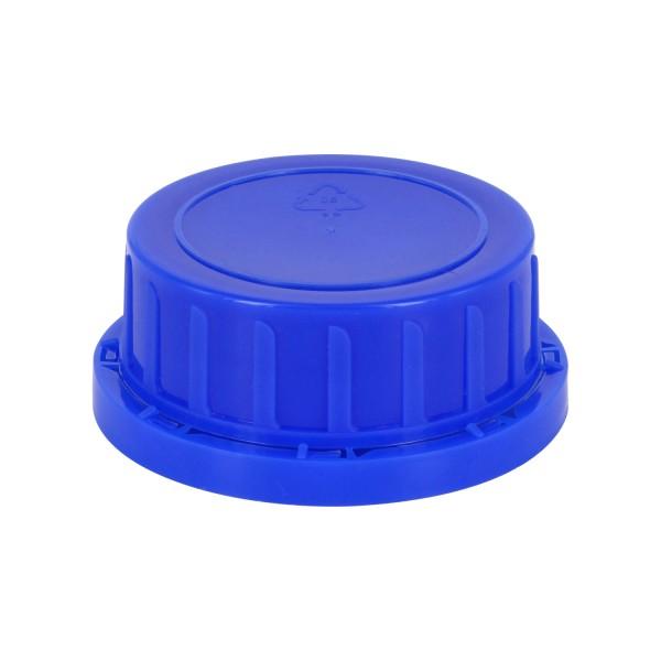 Bouchon à vis inviolable DIN 54 bleu avec insert en PEE, convient aux bouteilles à col large de 500 ml