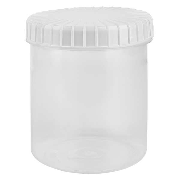 Pot en plastique transparent 180 ml + couvercle à vis blanc strié en PE, fermeture standard