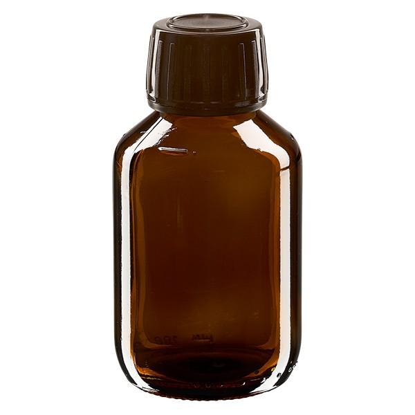 Flacon médical 100 ml couleur ambrée avec bouchon brun